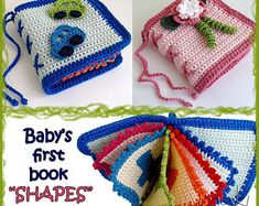 """Crochet pattern Baby first book """"Shapes"""" - Great and cool baby shower gift! Pattern #198 - Permission to sell finished items."""