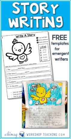 This FREE set of story writing templates supports emergent writers by scaffolding the story structure and encouraging detailed descriptions. Great for writing centers or literacy work!