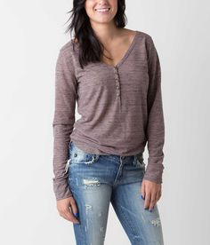 BKE Heathered Henley Top - Women's Tops | Buckle