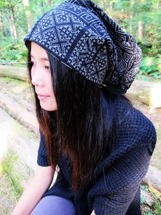 850755e61b3 Hill Tribe Thai Japanese Printed Hippie Hat - Samurai hat - hill tribe Beanie  Hat - Unisex black and white boho baggy dreadlock Hat