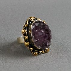 Ottoman Style Rough Crystal Amethyst 925K Sterling by jewelstanbul, $59.00