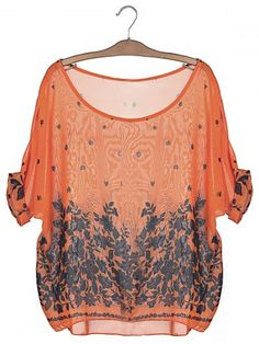 SHARE & Get it FREE | Stylish Scoop Neck Floral Print Batwing Sleeve Women's…