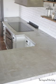 Outdoor Kitchen Countertop Material Best Of Diy Concrete Countertops Pour In Place – the Inspired Workshop Outdoor Countertop, White Concrete Countertops, Kitchen Countertop Materials, Laminate Countertops, Kitchen With Concrete Countertops, Cheap Countertops, Beton Diy, Home Depot, Kitchen Design