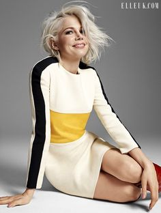 Michelle Williams Goes Bleach Blonde For Elle UK via @WhoWhatWear