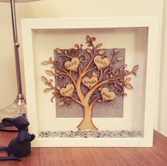 Items similar to Beautiful sparkly handmade family tree box frame. on Etsy Family Tree Picture Frames, Family Tree With Pictures, Box Picture Frames, Family Tree Photo, Shadow Box Frames, Family Trees, Scrabble Crafts, Letter A Crafts, Frame Crafts