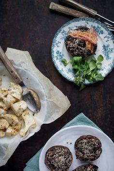 Fyldte portobellosvampe med quinoa og persille