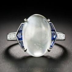 Moonstone, Sapphire, Platinum and Diamond Vintage Art Deco Style Ring #langantiques #artdecoring