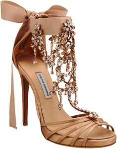 "TABITHA SIMMONS  Evita Sandals  Satin open toe sandal with multiple thin straps at toe, jewel-embellished t-strap and tonal grosgrain ankle tie. Thin covered platform and closed back with zip. 4.5"" heel (115mm)."