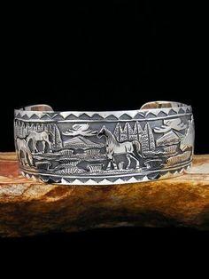 Navajo Farm and Ranch Scene 12k Gold sterling silver cuff bracelet vintage