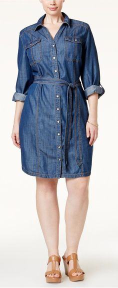 Plus Size Belted Denim Shirtdress