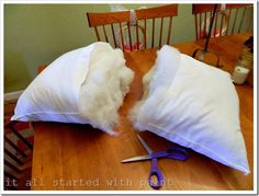 make decorative throw pillow forms from cheaper bed pillows!