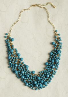 Ruche blue beaded necklace