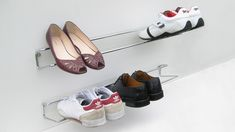The Wired shoe rack is supplied with a plastic backguard to help keep your wall cleans