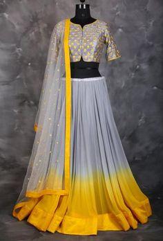 Grey and yellow shaded lehenga. Pakistani Dresses, Indian Dresses, Indian Outfits, Lehnga Dress, Lehenga Choli, Anarkali, Lehenga Skirt, Dress Skirt, Ethnic Fashion