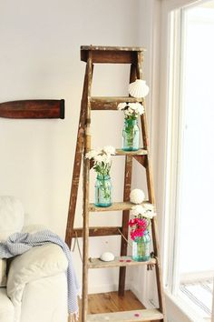 Vintage Ladder Decor - love this!