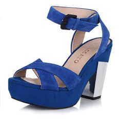 【思加图staccato 9QY02BL4 兰色】STACCATO/思加图兰色羊绒皮女凉鞋9QY02BL4夏季2014