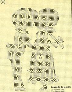 haft krzyżykowy / filet szydełko // couple enfant amoureux point de croix