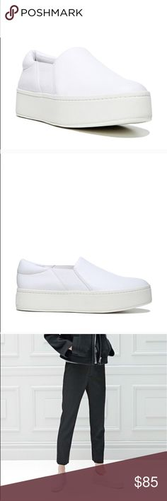 Vince warren slip ons in white plaster leather Still in great condition. Photos close up show tiny small pink stains that are barely noticeable when worn and will prob come out with a good wash Vince Shoes Sneakers