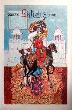 Lahore Pakistan Akbers Fort, 1950s - original vintage poster listed on AntikBar.co.uk