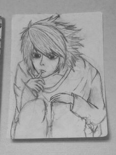 A quick sketch I had made of L from Deathnote. By E.A.T