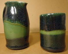 Pitcher and Mug - Gloss Black over Frog Pond Green glaze - Michael MacDonald 2012