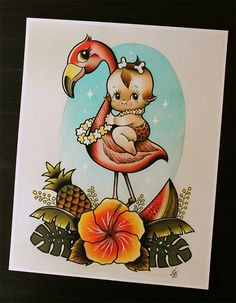 Kewpie and Flamingo 11x14' Tattoo Flash Print Other by Yukittenme
