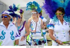 Brazilian carnival band at Chris Evans' CarFest South in aid of Children In Need - Stock Image