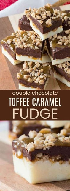 Double Chocolate Toffee Caramel Fudge - an easy microwave fudge recipe with layers of white and dark chocolate, gooey caramel, and bits of toffee. This simple candy is the perfect no-bake dessert for the holidays or any day. via Cupcakes & Kale Chips Caramel Fudge, Oh Fudge, Chocolate Toffee, Semi Sweet Chocolate Chips, Chocolate Desserts, Chocolate Squares, Toffee Fudge Recipe, Chocolate Tarts, Fudge Cake
