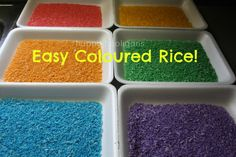 Colored Rice for sensory play or writing practice. Get materials at the Dollar Store.