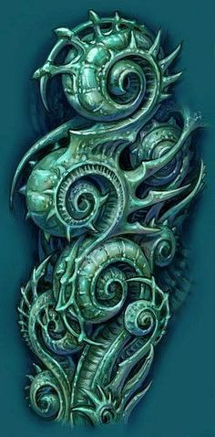 Image result for horror biomechanical tattoo flash