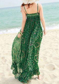 Green Floral Condole Belt Vintage Bohemian Sand Beach Chiffon Maxi Dress