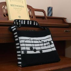 MUSIC BOOK Messenger BAG Crocheted Handmade Guitar Large Piano Carrying Case Purse Ooak