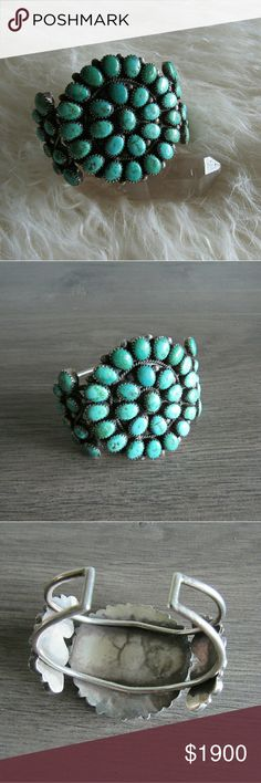 || vintage || Zuni SS & Turquoise Cluster Cuff Circa 1930s to 1950s, this classic Zuni cuff features 52 specimens of natural turquoise. Each cabochon is set in micro-serrated bezel, on heavy gauge vintage sterling silver. Twisted rope and applied raindrops decorate the gorgeous turquoise pieces. This is a museum quality piece of Zuni art. Measurements to come. Unsigned, though authentic Native American Zuni piece. Vintage Jewelry Bracelets