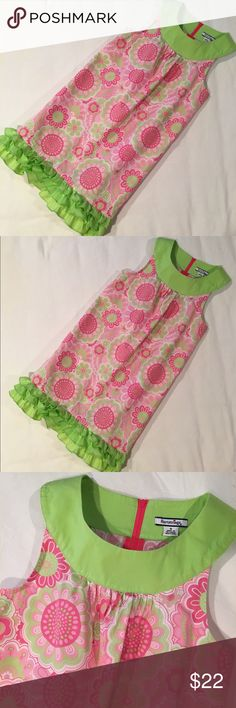 Fun & Fashionable Sleeveless, Floral Summer Dress Vibrant pink and lime green patterned dress with a triple layered ruffled hem. 100% Cotton. Super cute and stylish! EUC. Hartstrings Dresses