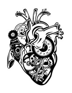 steampunk anatomically correct heart for cricut etsy - steampunk heart drawing Tatouage Dirt Bike, Tattoo Care Instructions, Anatomically Correct Heart, Gear Tattoo, Steampunk Heart, Anatomical Heart, Beste Tattoo, Anatomy Art, Symbolic Tattoos