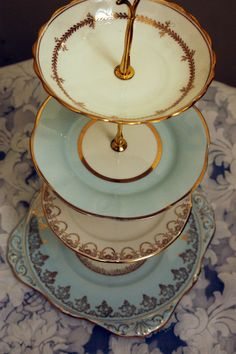 Cake Stand  The Pale Blue & Gold Filigree by VintageHomeArt, $160.00