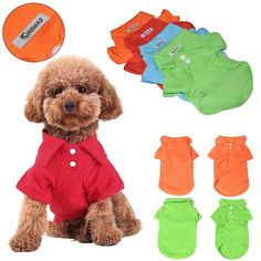 KINGMAS 4Pcs Pet Dog Puppy Polo T-Shirt Clothes Outfit Apparel Coats Tops *** Details can be found by clicking on the image.