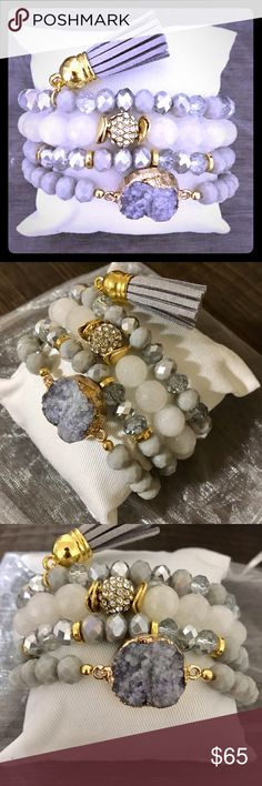 Smoke Druzy Beaded Stacked Bracelet Set GORGEOUSLY handcrafted bracelet set that includes an smoke colored druzy center stone beaded bracelet, stacked with 2 accented beaded bracelets and a tassel bracelet finish .... complete with a display pillow perfect for gift giving  . This set also comes in a white organza bag for an optimal fancy finish. A MUST HAVE PIECE!! Jewelry Bracelets