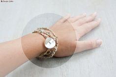 Bracelet en chanvre avec bouton nacré écru par LaMauvaiseGraine