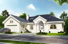 projekt Willa Parkowa House Plans Mansion, Luxury House Plans, Villa Park, House Front Design, Modern House Design, Bungalows, Fixer Upper House, Modern Bungalow House, Stucco Homes
