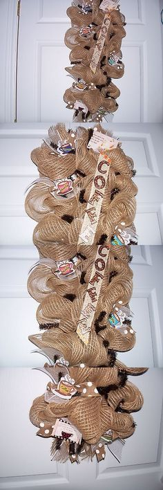 Wreaths 16498: Homemade Brown Coffee Shop Mesh Wreath -> BUY IT NOW ONLY: $60 on eBay!