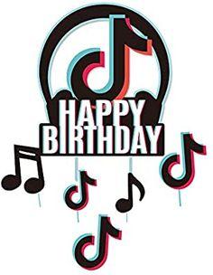 TIK Tok - Decoración para tarta de cumpleaños: Amazon.com.mx: Juegos y juguetes Happy Birthday Disney, 10 Birthday Cake, Happy Birthday Cake Topper, Birthday Party Invitations, Cupcake Toppers Free, Creative T Shirt Design, Korean Stickers, Family Birthdays, Party Printables