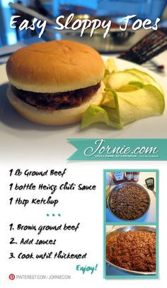 Easy Sloppy Joes | Jornie.com ~ Foolproof, easy way to make sloppy joes QUICK.