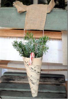 Christmas sheet music cone