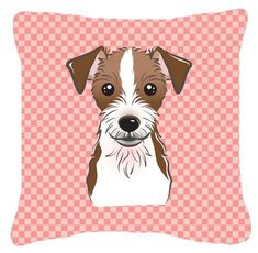 Checkerboard Pink Jack Russell Terrier Canvas Fabric Decorative Pillow BB1202PW1414