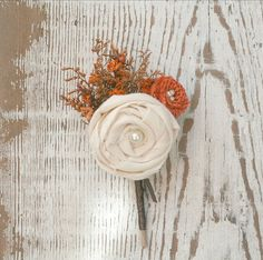 Orange Wildflower Burlap & Ivory Fabric Rosette by TheSunnyBee, $19.50