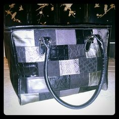 New York & Company Large Black patchwork leather handbag. Used but in great condition. New York & Company Bags Satchels