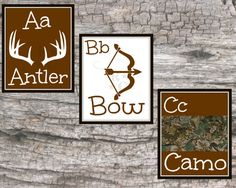 Boys Kids ABC Alphabet Prints 8X10 Hunting Bow Antlers Camo Camouflage bedroom nursery wall art decor decoration woodsy rustic