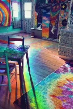 Indie Room Decor, Cute Room Decor, Aesthetic Room Decor, Room Ideas Bedroom, Diy Bedroom Decor, Hippy Room, Rainbow Room, Home Room Design, Window Film