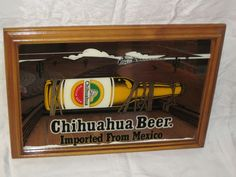 chihuahua beer corona extra beer mirror wooden frame pub bar sign 4969